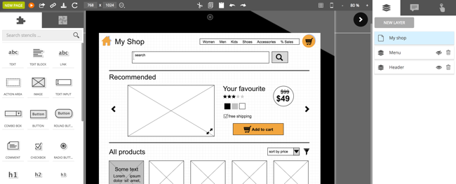 Software-as-a-Service for using wireframes